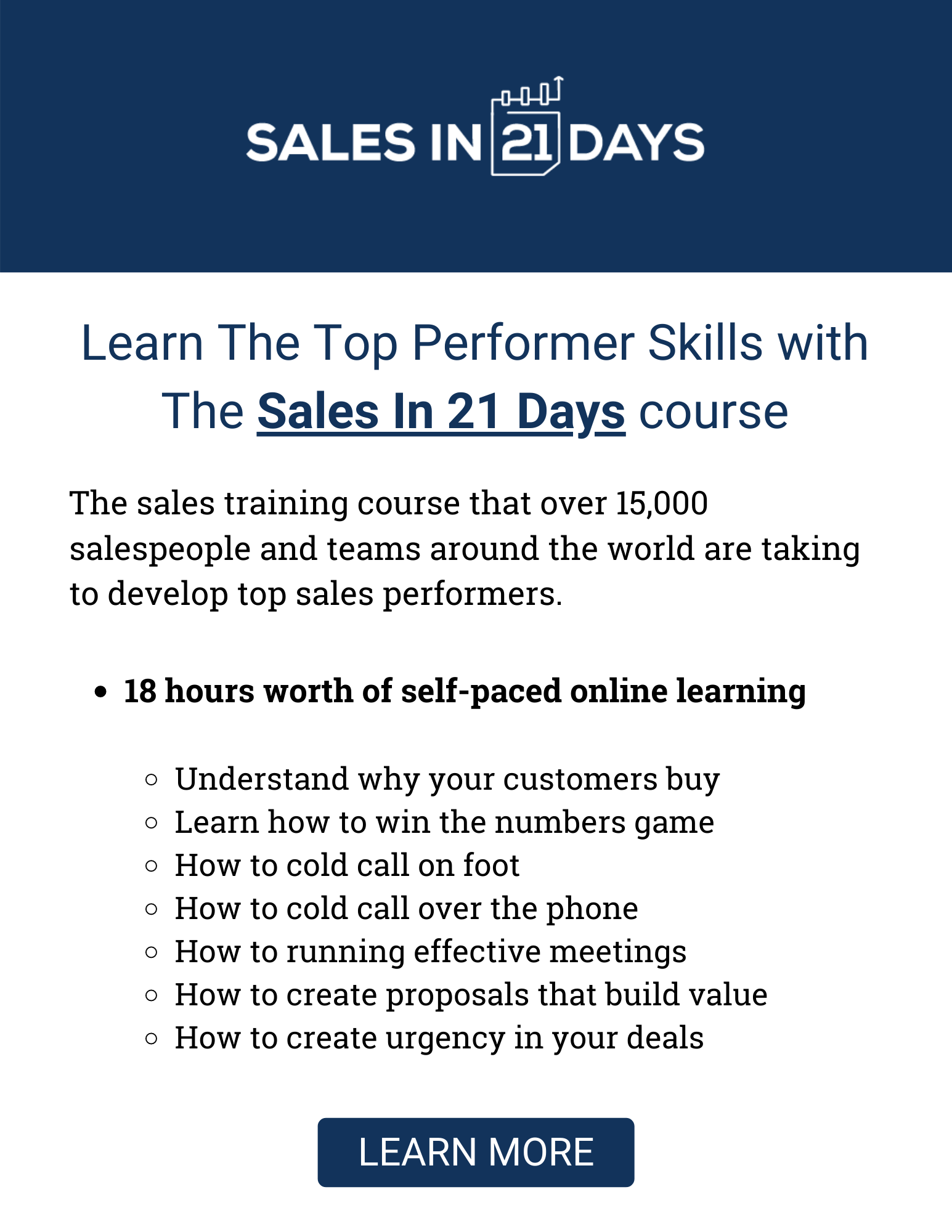 Learn Top Performer Sales Skills with The Sales In 21 Days course from Modern Sales Training