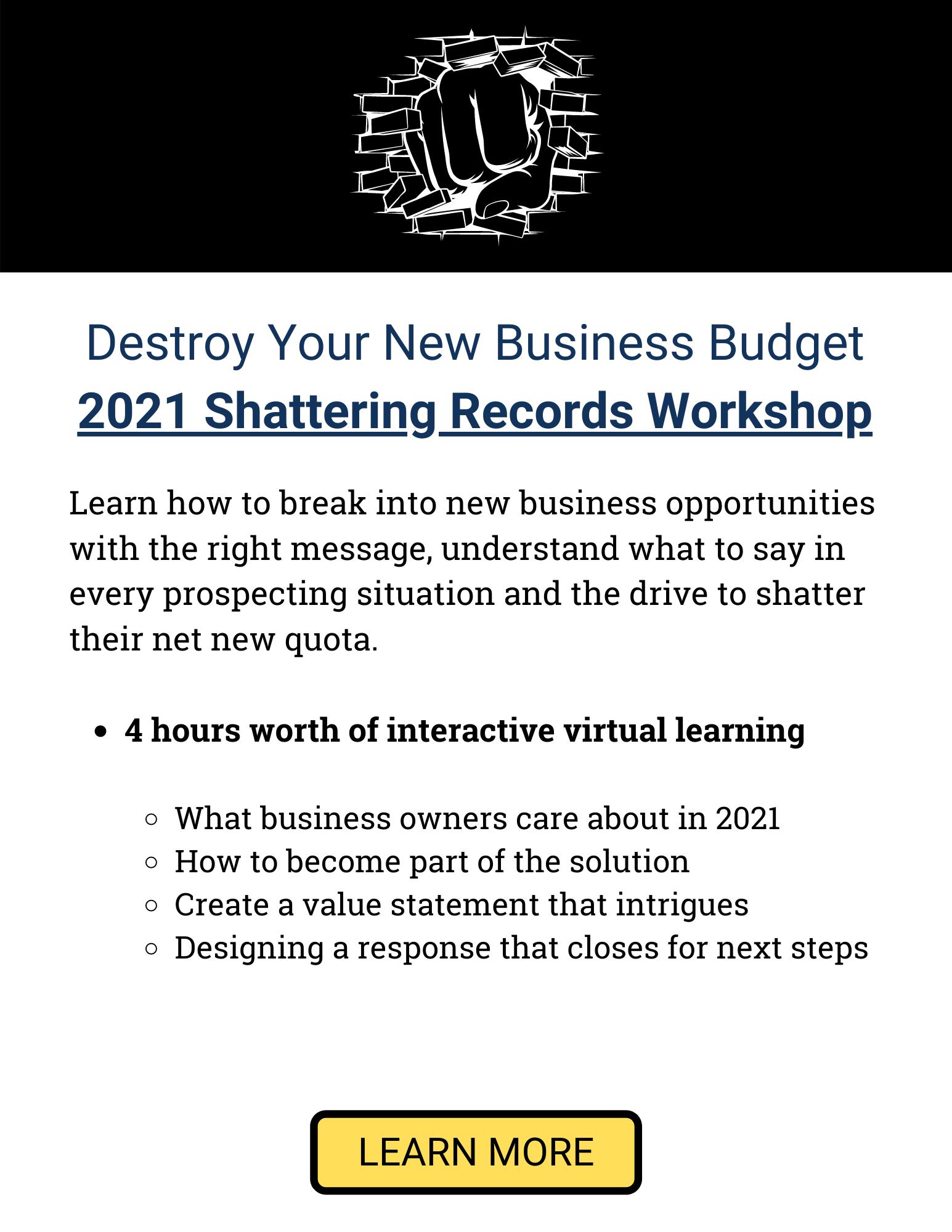Shattering Records 2021 Virtual Kick Off Modern Sales Training