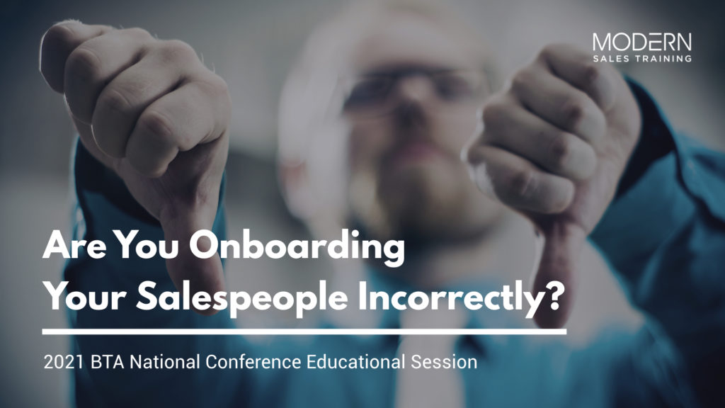 BTA Onboarding Salespeople Modern Sales Training